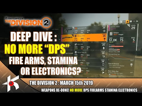 The Division 2 DEEP DIVE #5 :  Say Goodbye to DPS Stamina Firearms and Electronics?
