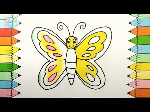 how to draw butterfly creativity for kids with coloring brush pen coloring pages animals