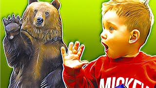 Mark and Dad are playing in the woods and meet a big bear.