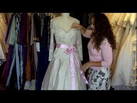 champagne-wedding-dress-with-rose-sash-and-bolero-jacket