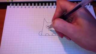 Простые рисунки #25. Самый простой рисунок кота.(Как нарисовать простой рисунок обычной гелевой ручкой за несколько минут. Спасибо, что смотрите мои видео...., 2013-05-22T09:17:18.000Z)