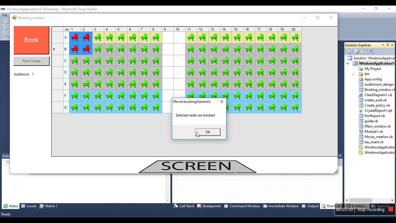 Movie Ticket Booking Software In Vb Net Go Through Code Briefly Youtube