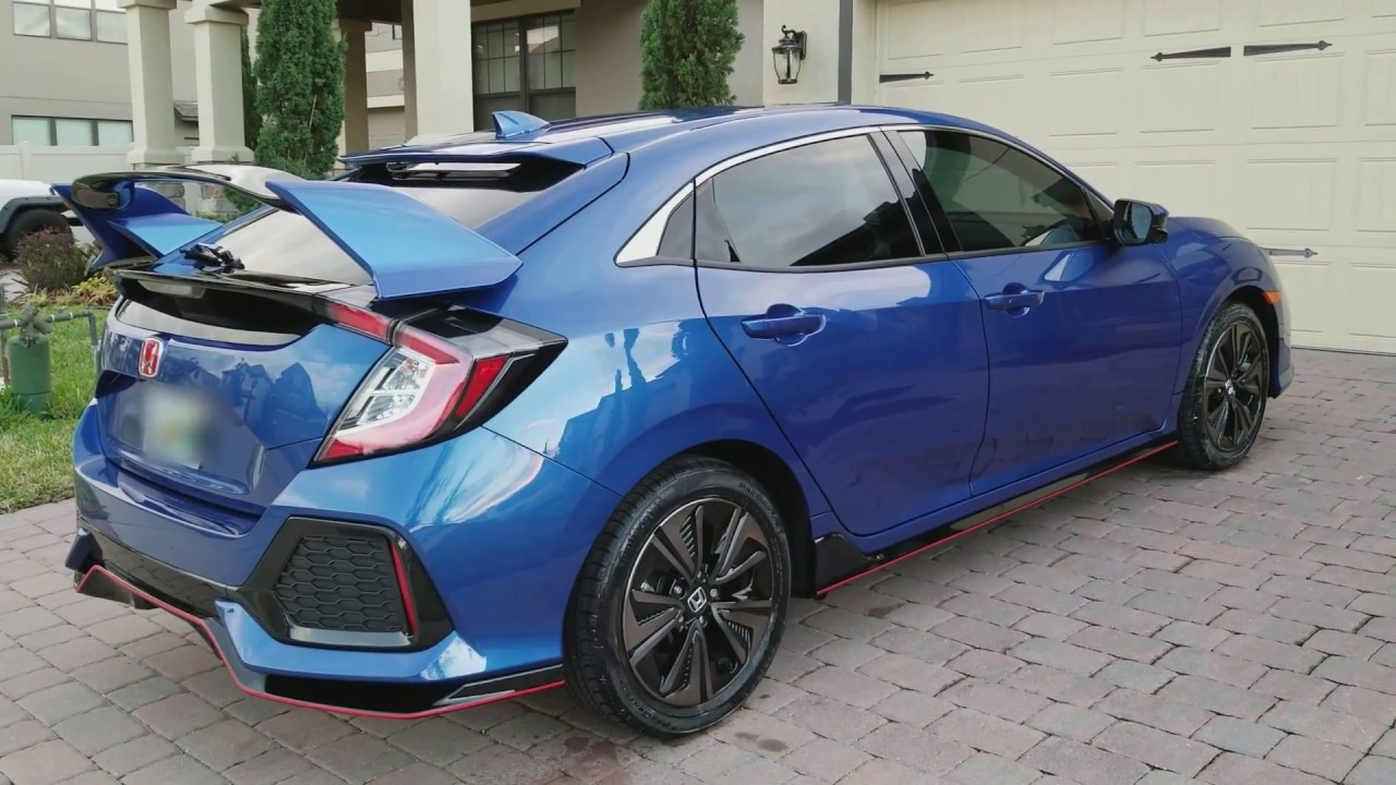 2017 Civic Hatchback EX with Type R Spoiler Walk around - YouTube