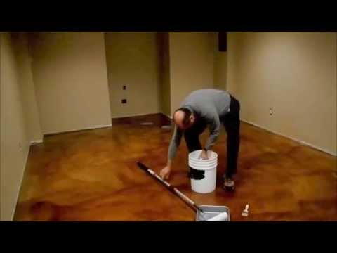 How To Ly A Gloss Coat Stain Concrete Floor Www Sealgreen 800 997 3873 You