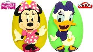 2 Ovos Surpresas Gigantes da Minnie e da Margarida de Minnie Toons em Português de Massinha Play Doh
