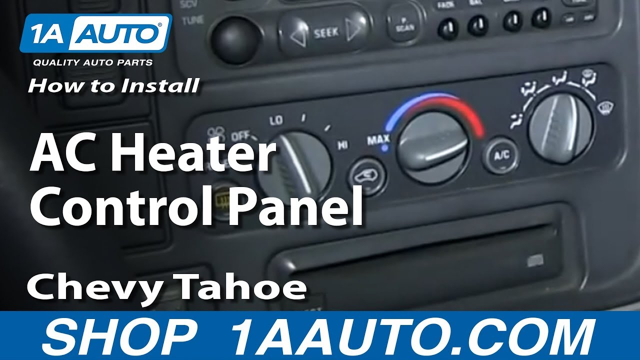 How To Install Replace AC Heater Control Panel 1995-99 Chevy Tahoe  Chevy Silverado Hvac Wiring Diagram on 1998 chevy lumina brake light wiring diagram, chevy s10 instrument cluster wiring diagram, 1995 chevy monte carlo wiring diagram, 1995 toyota tacoma wiring diagram, 1995 chevy pickup wiring diagram, 1995 ford crown victoria wiring diagram, 1999 chevy wiring diagram, 2008 chevy wiring diagram, 1950 chevy car wiring diagram, 1995 chevy k3500 wiring diagram, 1995 chevy g20 van wiring diagram, 1995 buick regal wiring diagram, 2010 chevy cobalt wiring diagram, chevy 2500hd wiring diagram, chevy s10 fuel pump wiring diagram, chevy 1500 wiring diagram, 2009 chevy impala wiring diagram, 1995 ford powerstroke wiring diagram, 1995 subaru impreza wiring diagram, chevy silverado fuse box diagram,