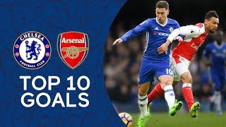 Essien Screamer, Hazard's Incredible Solo Goal | Top 10 Goals Against Arsenal | Chelsea Tops