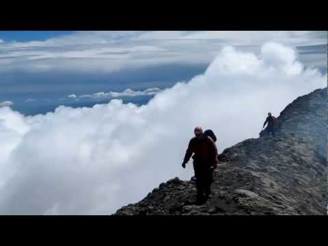Hiking the crater's edge on Volcan Villarrica