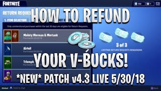 HOW TO REFUND V-BUCKS in FORTNITE! HOW TO RETURN ITEMS!