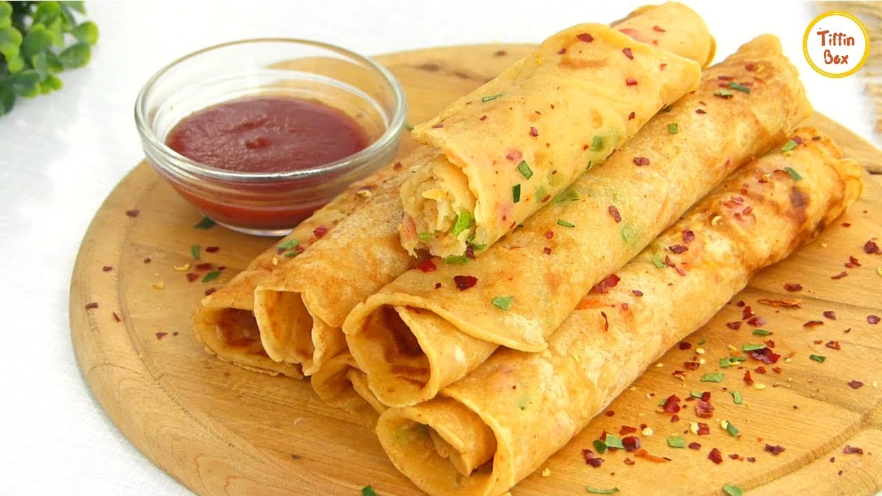 Spicy Vegetable Crepe Paratha Roll By Tiffin Box Easy Breakfast Snacks Recipe For Kids Youtube