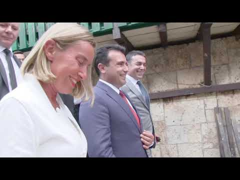 Federica Mogherini in Macedonia - questions about Albanian extremism & Prespa Agreement