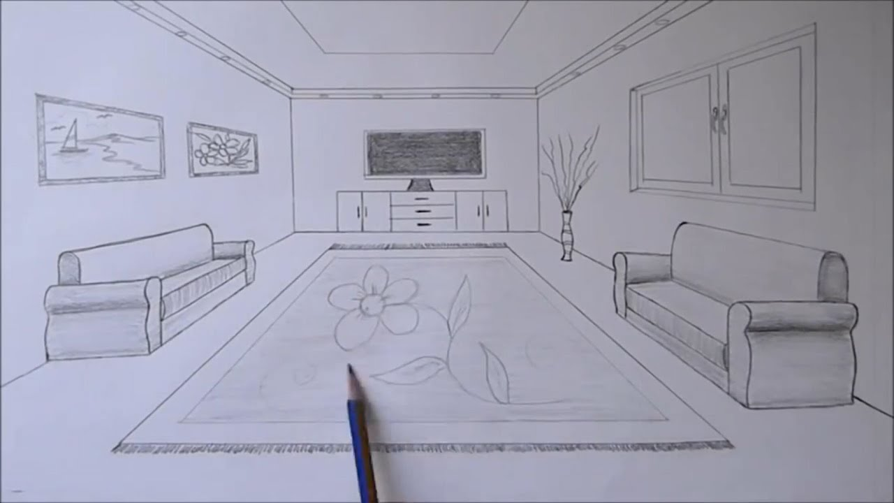 How To Draw A Living Room With One Point Perspective