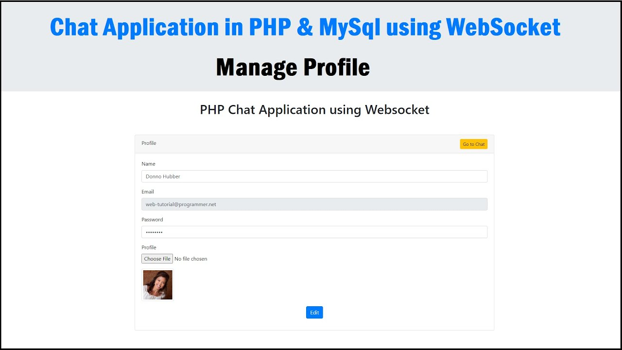 Chat Application in PHP & MySQL using WebSocket - Manage Profile