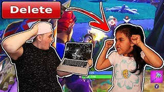 (GONE WRONG) DELETING MY 5 YEAR OLD LITTLE SISTERS FORTNITE ACCOUNT!! *SHE BROKE MY MACBOOK*
