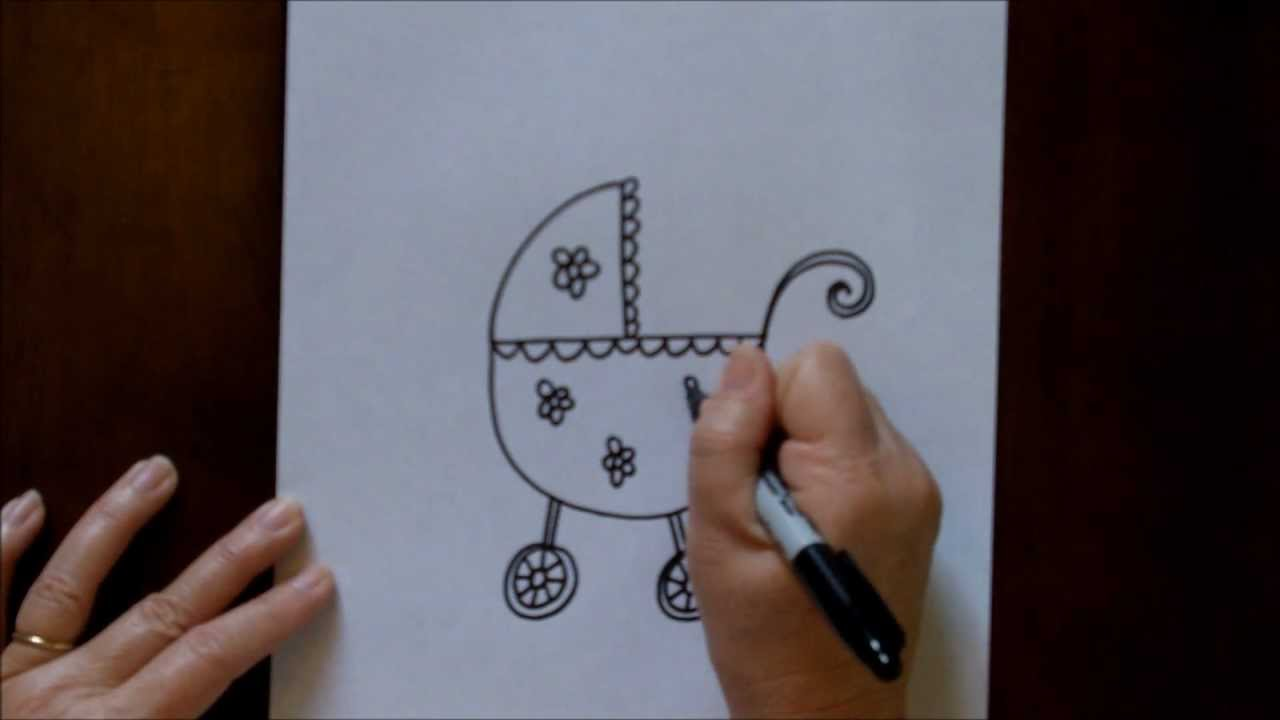 How to Draw a Baby Carriage Stroller Cartoon Simple ...