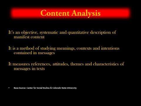 Research Methods -  Content Analysis