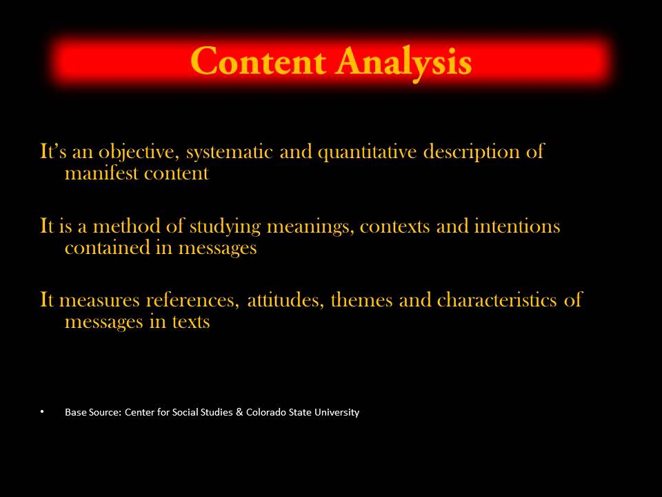 Research design a content analysis
