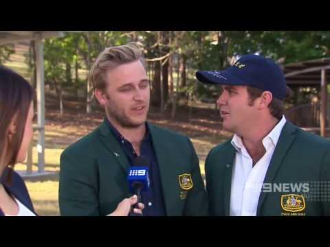 Two men pretend to be professional golfers representing Australia at the North Korean Golf Open