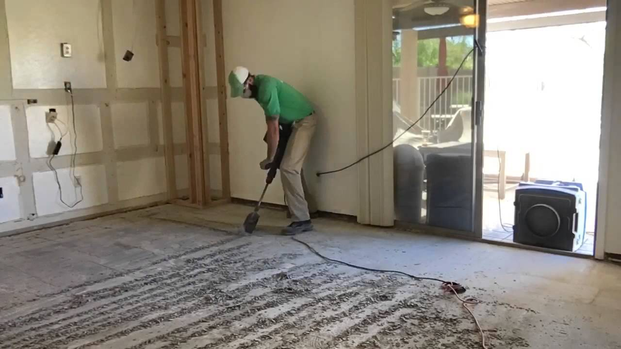 How To Remove Thin Set From A Concrete Sub Floor Youtube