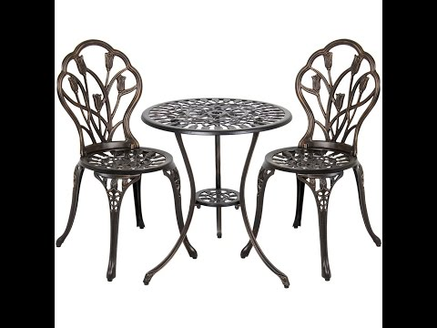 Best Choice Products Cast Aluminum Patio Bistro Furniture Set in Antique Copper - SKY1693