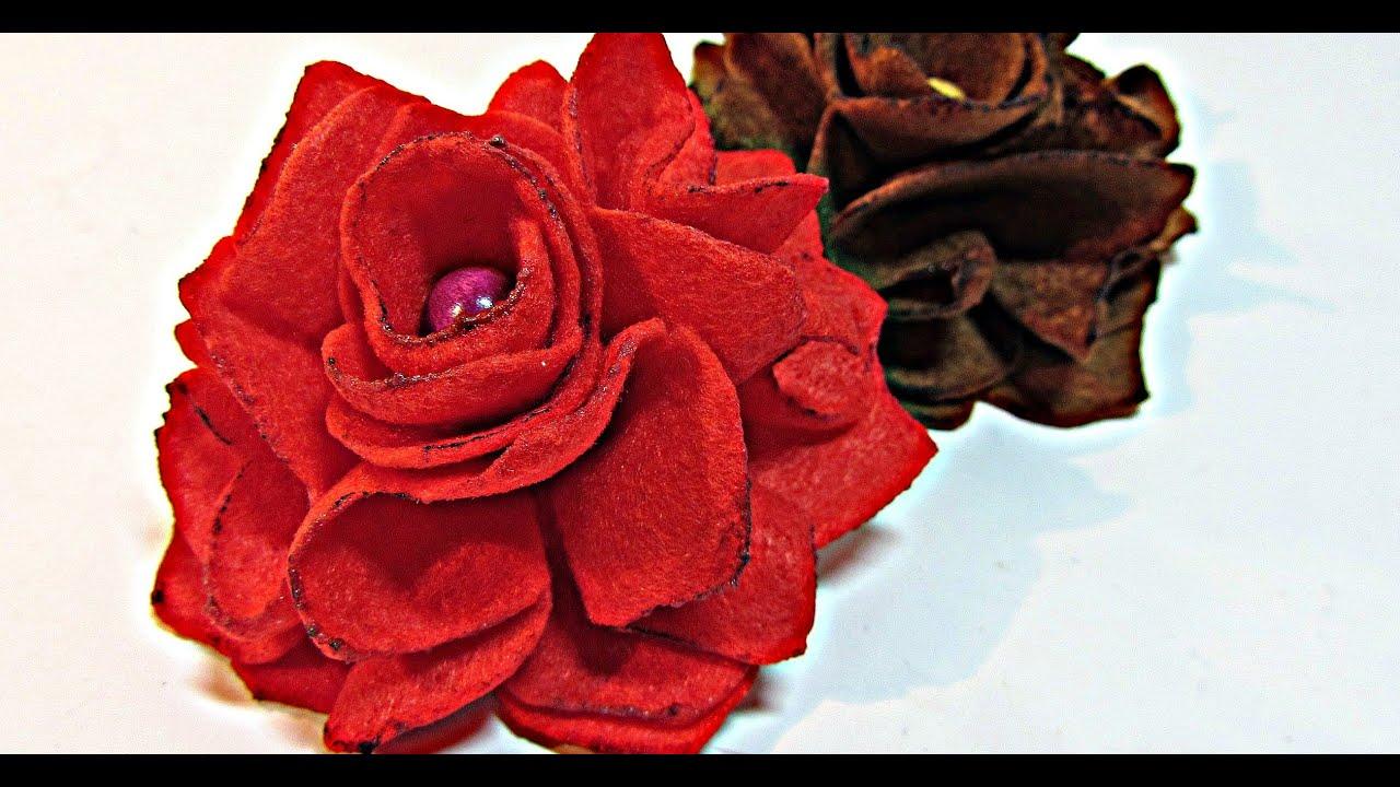 como hacer rosas de fieltro felt roses