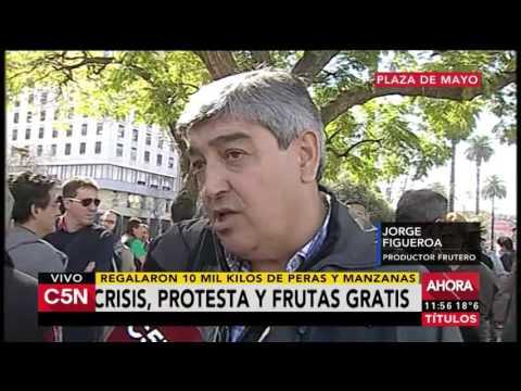 C5N - Economia: largas colas para recibir fruta gratis en Plaza de Mayo