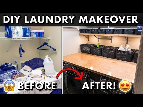 DIY LAUNDRY ROOM MAKEOVER w/ Plywood Countertops & Organization! 🧺