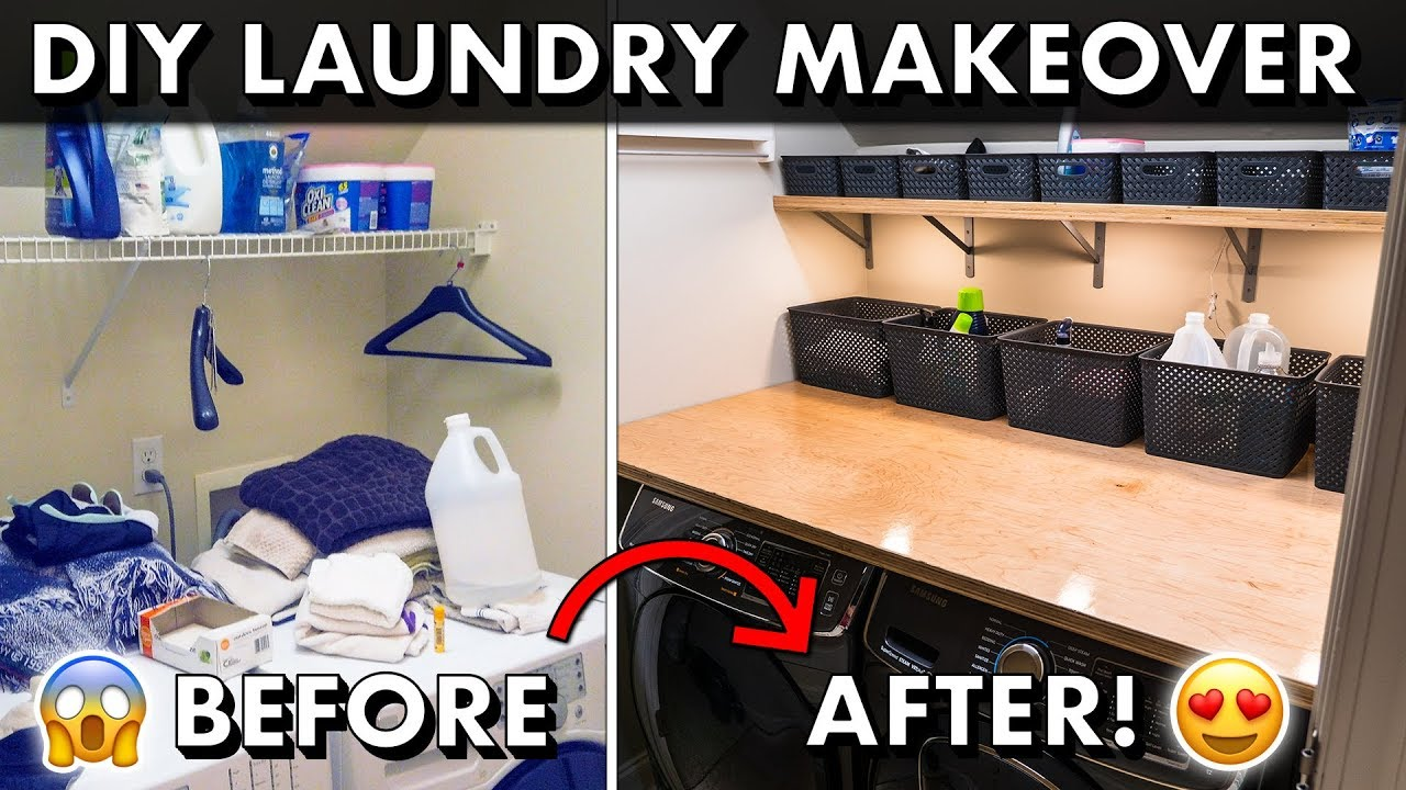 Diy Laundry Room Makeover W Plywood Countertops Organization Youtube
