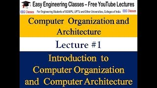 COA Lecture 1 - Introduction, Difference b/w Computer Organisation and Architecture(Hindi)