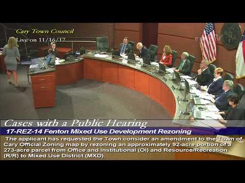 Fenton Mixed Use Development Public Hearing, Nov. 16, 2017
