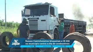 Caminhoneiros bloqueiam a CE 356 no município contra a alta de combustíveis.