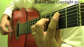 Composition lesson 1 on Tanguillo (Arpeggio slowly played) free flamenco guitar lesson by Ruben Diaz
