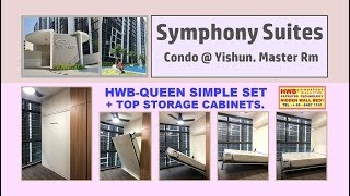 HiddenBed  HWB-Queen Simple Set. SymphonySuites.+Storage Top Cabinet.HWB HUB.HDB.BTO.EC