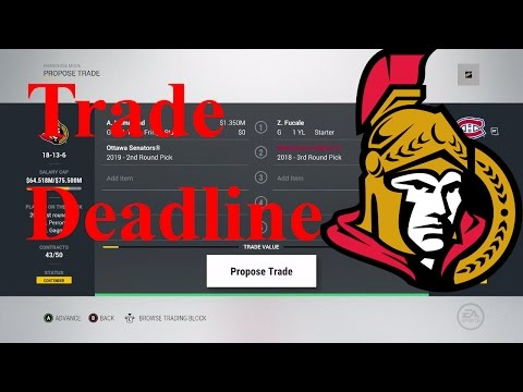 Up to the deadline (NHL 17 Be a GM)