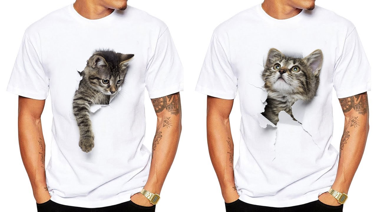 1cdf1b0d21411 TEEHEART 3D Cute Cat T shirts - Women Men Summer Tops Tees Print Animal o  neck short T shirt