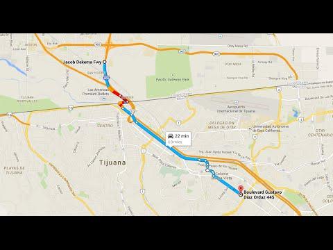 Driving from San Ysidro, CA, to La Mesa, Tijuana, BC, Mexico (in 720pHD) (night drive)