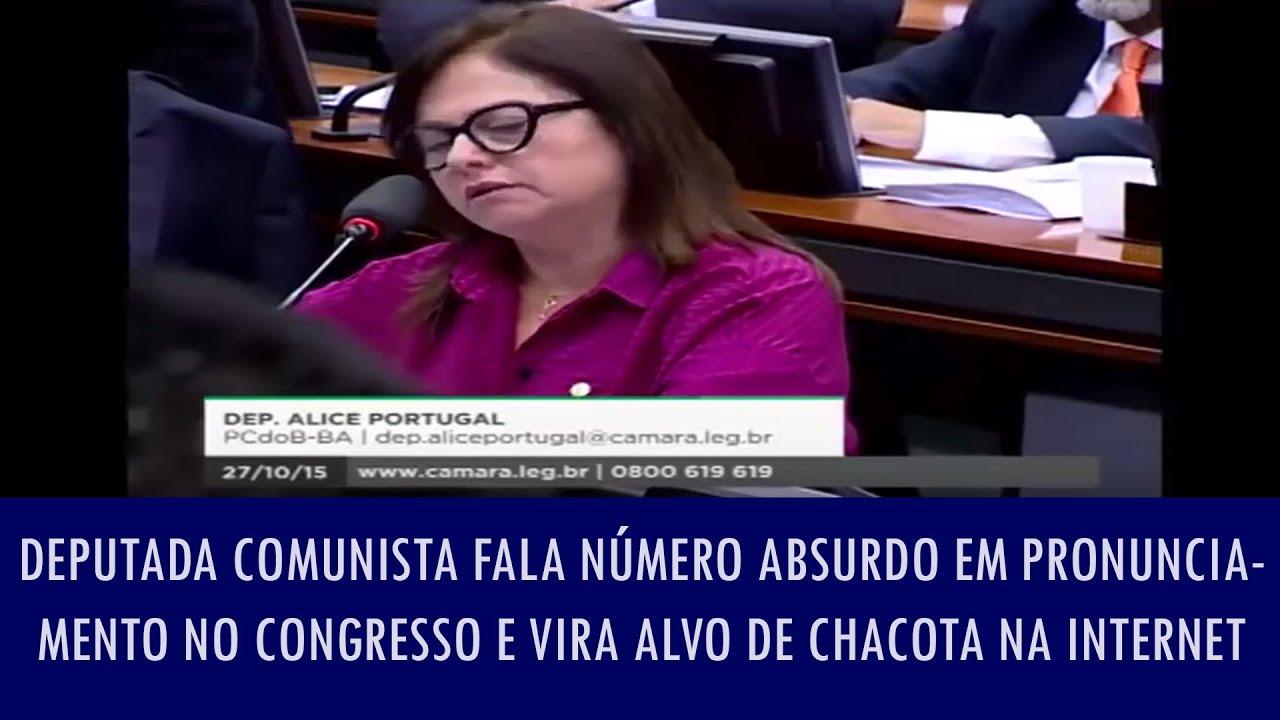 Deputada comunista fala número absurdo em pronunciamento no Congresso e vira alvo de chacota