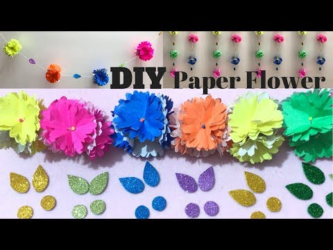 Paper Flower Tutorial | DIY Paper Flowers | Make Coloured Paper Flowers to Decorate your Room