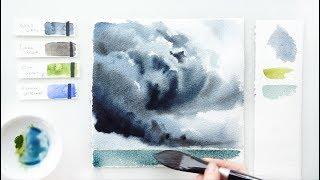 Штормовое небо. Урок акварели