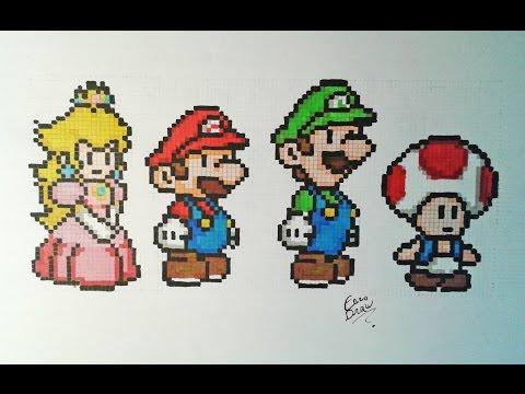 Dessiner Mario Peach Luigi Toad Pixelart Speeddrawing Youtube