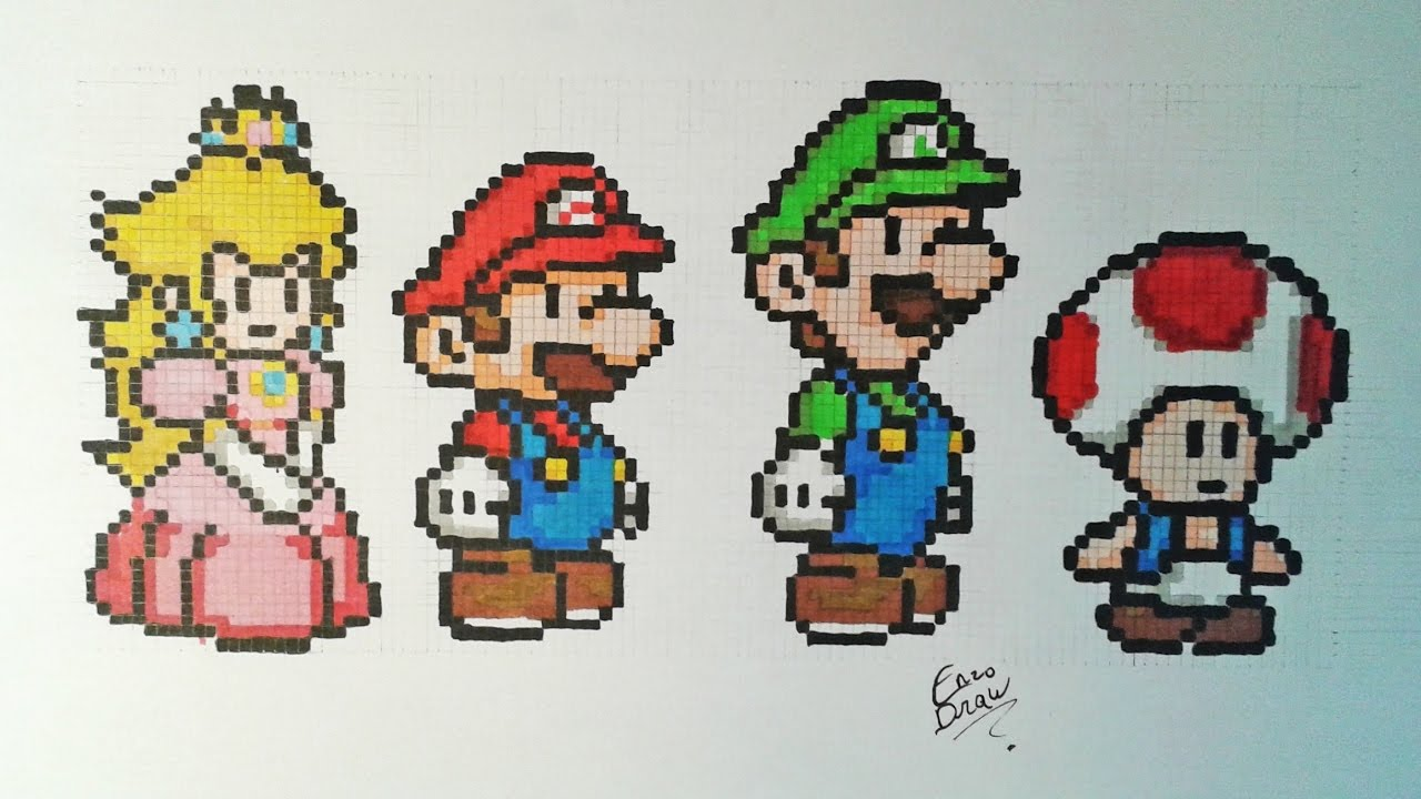 Dessiner Mario Peach Luigi Toad Pixelart Speeddrawing Youtube