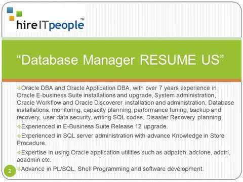 Database Manager RESUME US