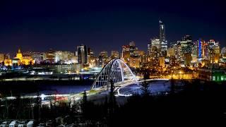 EDMONTON CITYSCAPE TIME-LAPSE (NIGHT) 4K