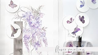 Watercolor Wisteria Flowers, Butterflies, and Hummingbirds - painting process