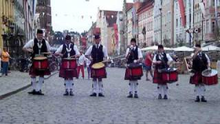 Elgin & Dritrict Pipe Band Drum Corps Playing a Drum Salute in front of Landshut Town Hall