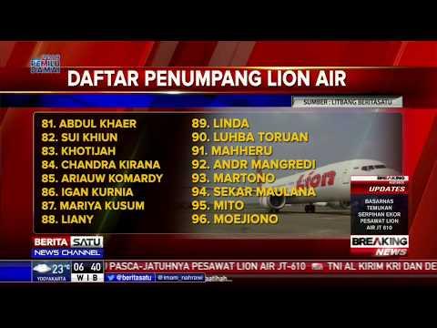 Daftar Nama 181 Korban Jatuhnya Lion Air JT-610