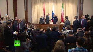 Пресс конференция глав МИД России, Ирана и Сирии