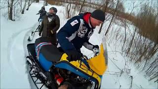 Все на самодеоьных снегоходах Сергей, Аня, Кирилл 1 апреля 2018г.