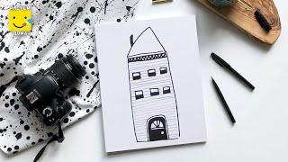 Рисуем домик - урок рисования для детей от 4 лет, как нарисовать фломастерами поэтапно