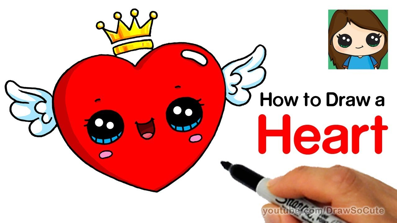 How to Draw a Heart with Wings Easy - YouTube